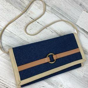 Nautical purse handbag woven navy shoulder straw